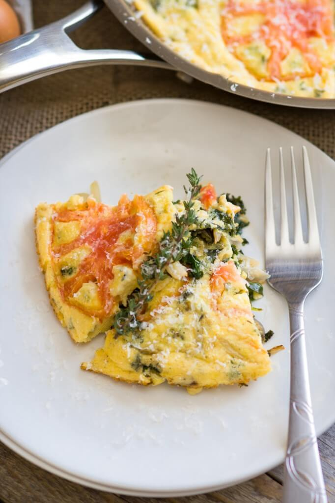 Kale, fennel, and parmesan frittata. Frittata is an egg-based Italian dish that you can make with anything you have on hand. It is low-cost, easy and super-fast to put together and not to mention healthy and nutritious meal. Perfect for anytime of the day.