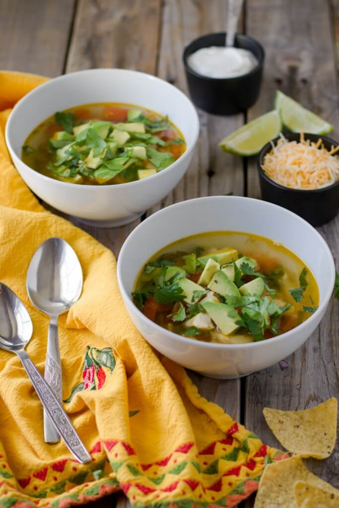 Chicken avocado lime soup. Delicious, nutritious, colorful and light soup. Perfect for spring and summer.