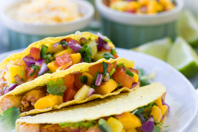 Quick and easy Mahi-mahi fish tacos with pineapple mango salsa recipe to enjoy with friends and family. Vibrant, festive, delicious dinner to brighten your day. Perfect substitution for a take-out on a lazy weekend. So COLORFUL and YUMMY!