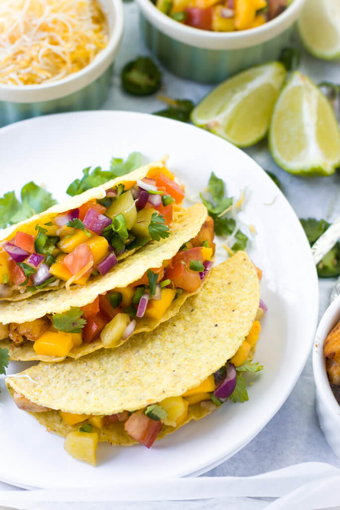 Mahi Mahi Fish Tacos With Pineapple Mango Salsa The Pure