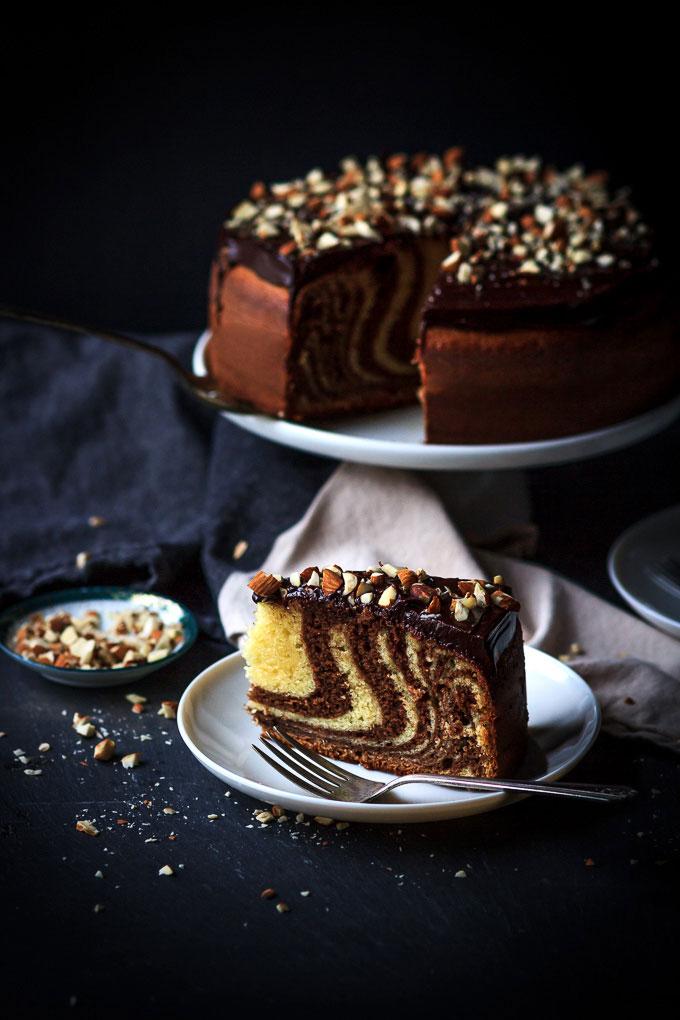 Zebra Cake with Chocolate Glazing from my childhood