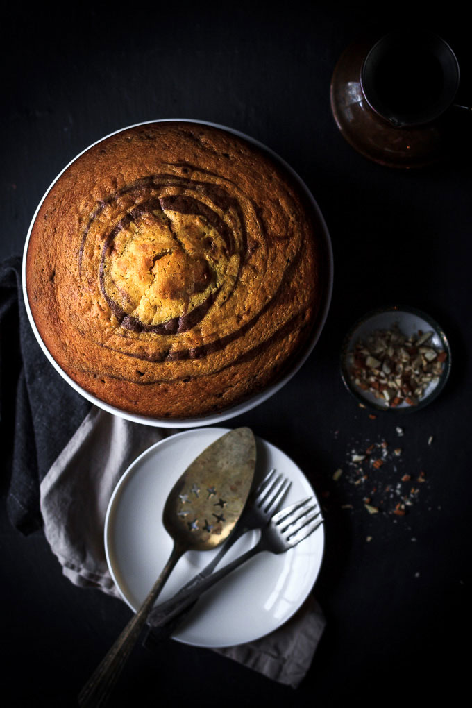 A very simple, yet sophisticated Zebra cake with chocolate glazing recipe. With very little efforts, in 1 ½ hours, you will get the airy textured cake with vanilla, and chocolate aroma and melt in your mouth chocolate glazing.
