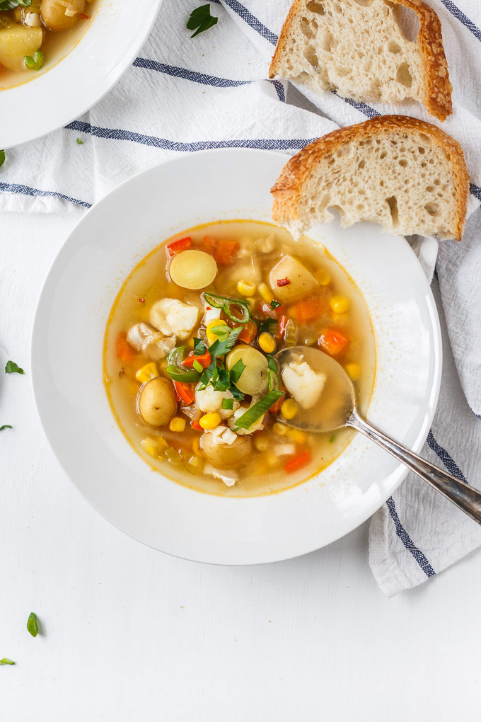 Healthy Cod and Corn Chowder recipe. Super quick and easy fish soup to make. Minimum ingredients and cooking steps and maximum nutrition goodies!