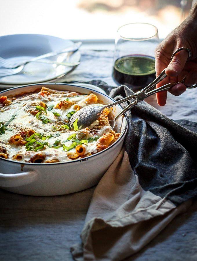 Lighter Ground Beef and Pasta Casserole