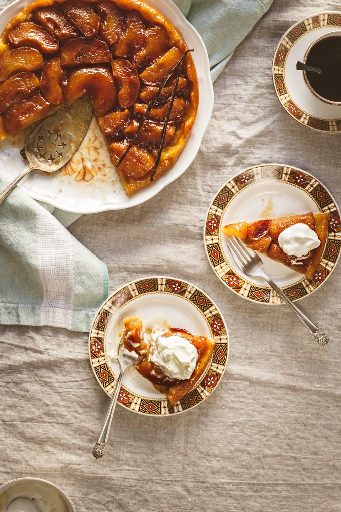 This Classic French Apple Tarte Tatin recipe is a pure pleasure to enjoy during apple season. Despite the scary name it is very easy to make, requires only one pan, simple ingredients and a tiny portion of your day. Enjoy this golden caramelized treat with the fragrant vanilla bean ice cream. #apple #tartetatin #appledessert