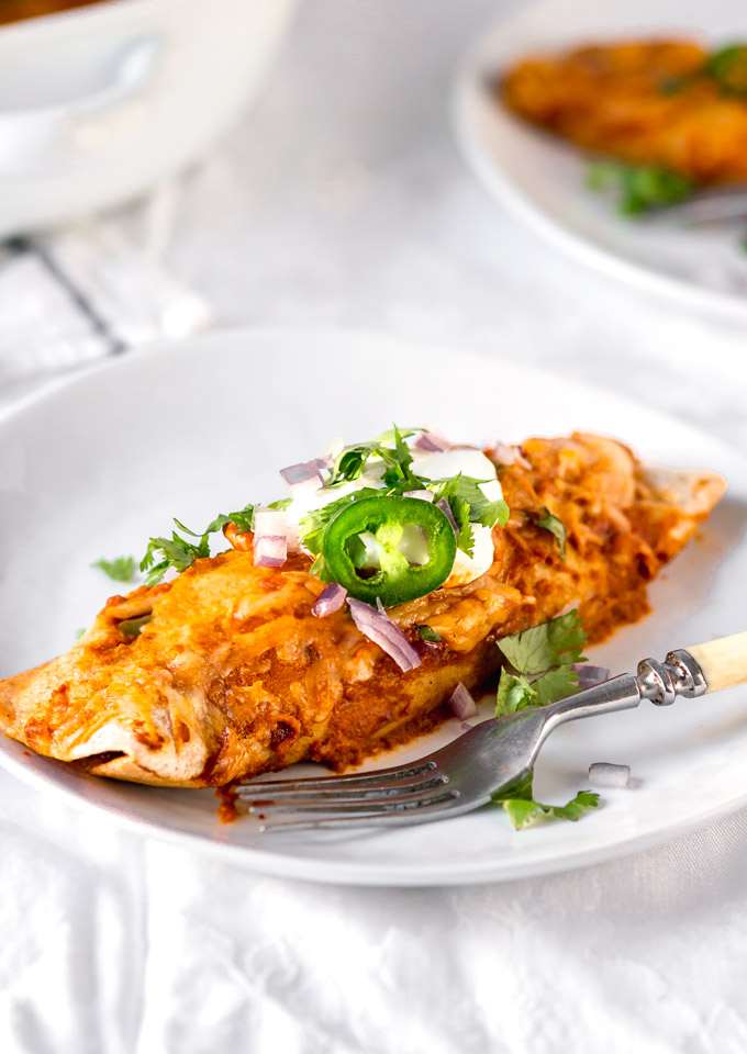 Rotisserie chicken enchiladas with a simple enchilada sauce (EASY & Healthy)
