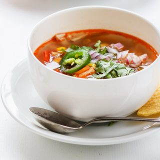 Smoky Rotisserie Chicken Soup with corn & tomatoes (Simple & Healthy)