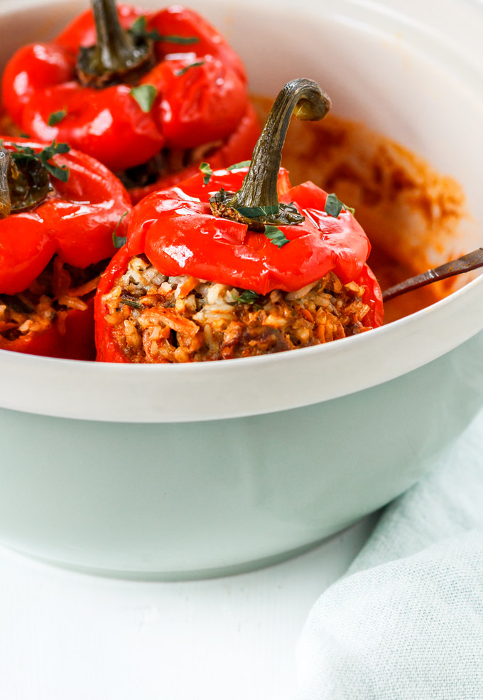 Ukrainian all Beef Stuffed Peppers Recipe is a healthy and easy dinner to make. You only need 3o minutes for the prep. The oven does the rest. In about 1 hour 30 minutes you have delicious, healthy and nutritious dinner to satisfy you for the next couple of days!