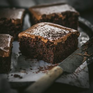 Dark Chocolate Guinness Brownies with Creamy Guinness Frosting