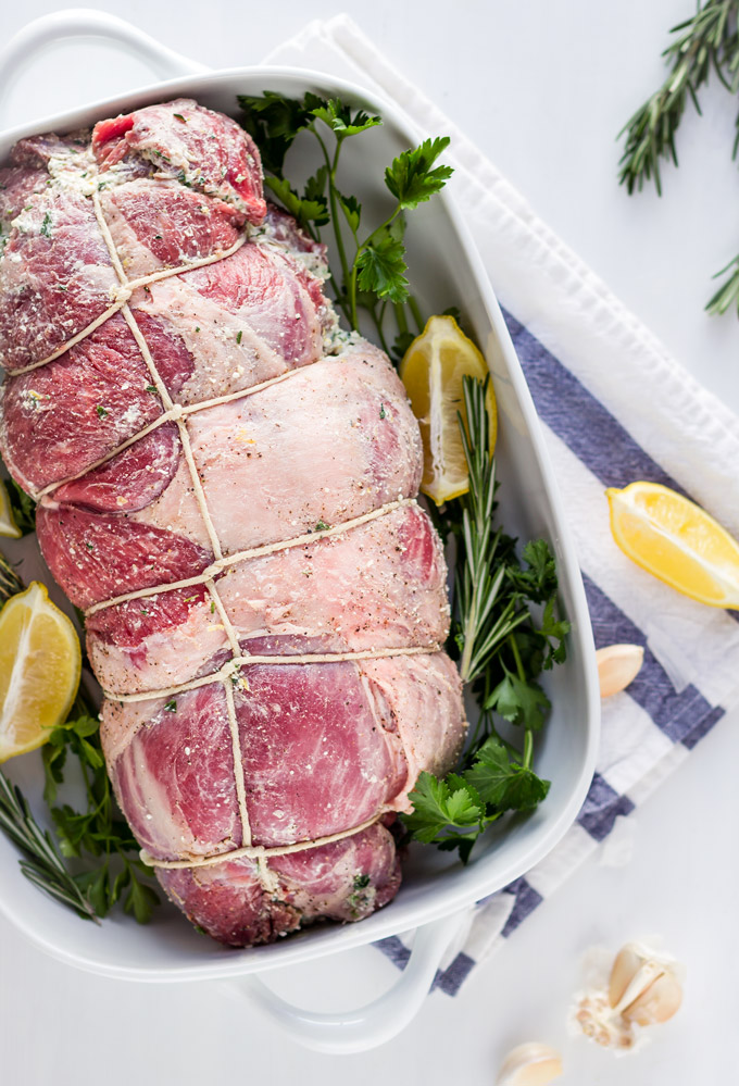 This fresh herbs and feta cheese stuffed leg of lamb recipe is a stunning way to impress your guests. Prep the lamb a day ahead so it will absorb all the aromas from the filling. Cook it the next day and enjoy it with friends and family. A go-to recipe for a stunning meat main dish for any special occasion.