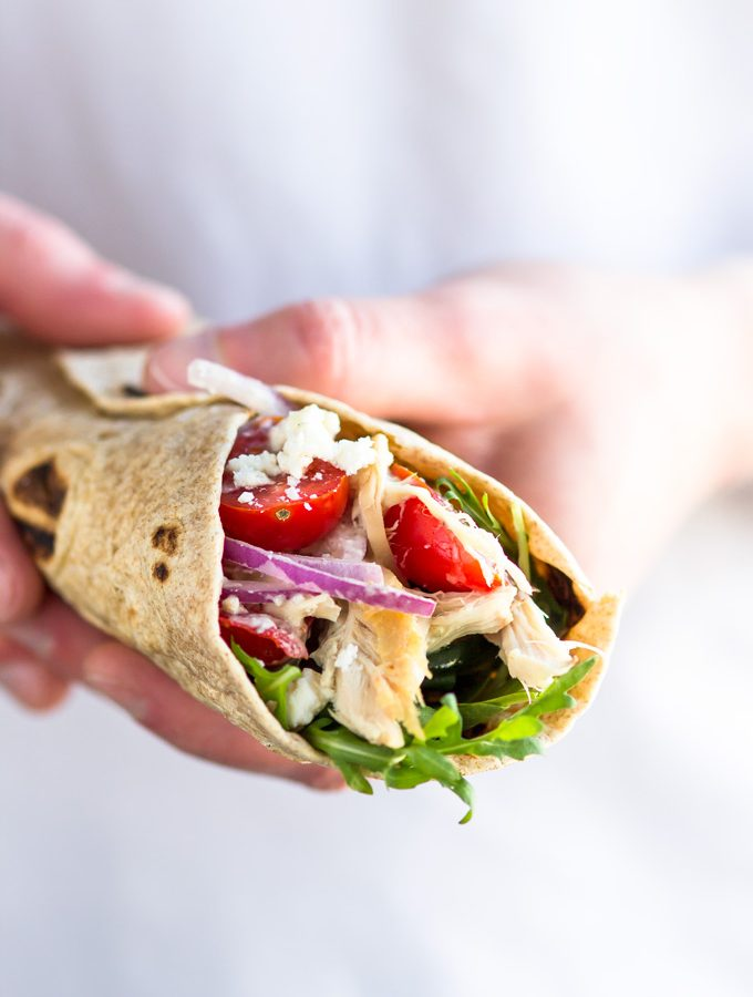 Healthy Rotisserie Chicken Wrap with Greek Yogurt Dressing