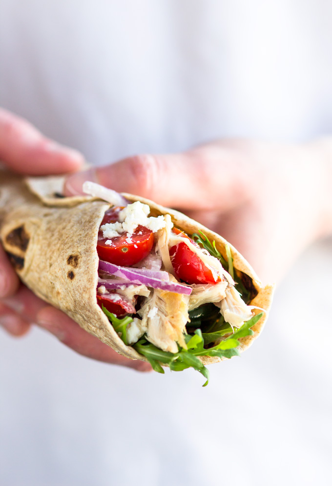 Healthy Rotisserie Chicken Wrap with Greek Yogurt Dressing