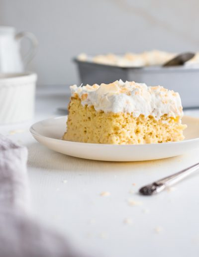 Luscious and Mouthwatering Tres Leches Cake recipe just in time for Cinco de Mayo. After reducing the sugar to make a lighter version, I'm confident to say this is the best tres leches cake recipe I've made. Enjoy this authentic Mexican dessert without any guilt ;) #tresleches #cake #cincodemayodessert