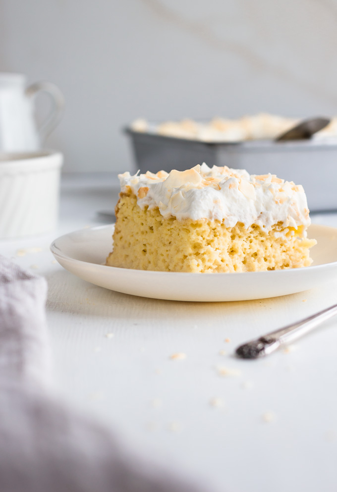 Luscious Tres Leches Cake With Coconut Flakes Lighter Version