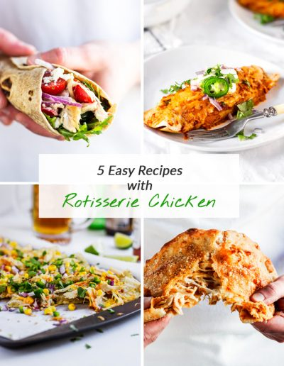 5 easy leftover rotisserie chicken recipes collection. In this post, you will find five healthy meals using leftover cooked chicken that are fun and easy to make, healthy, delicious and can be served as a full dinner. All five recipes are collected in a free downloadable e-book! #rotisserie #rotisseriechickenrecipes #leftoverrotisseriechickenrecipes