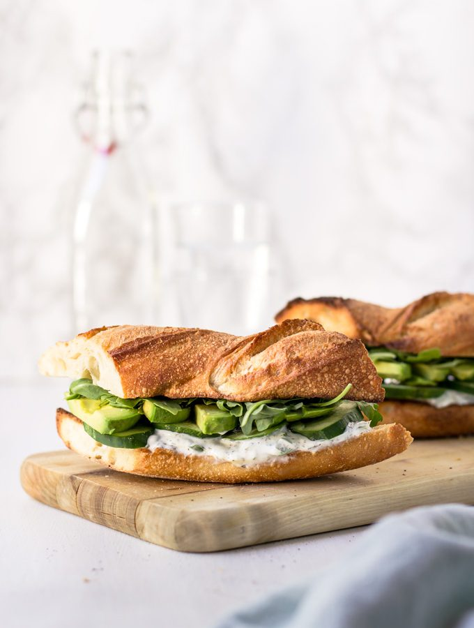 Healthy Vegetarian Cucumber and Avocado Sandwich