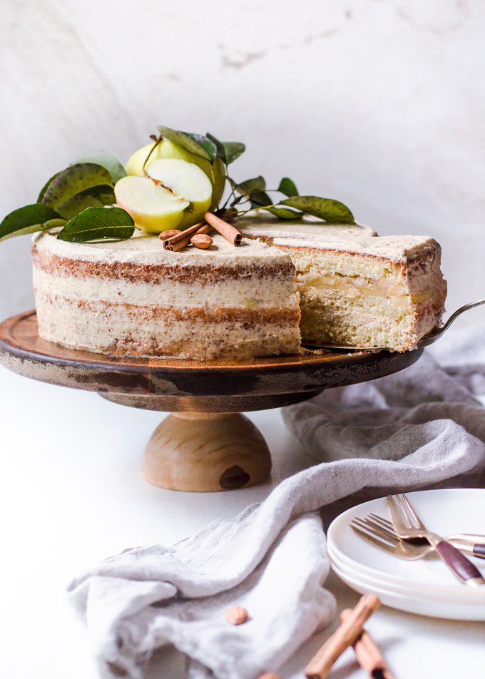 Lighter Apple Layer Cake with Whiskey Almond Cream